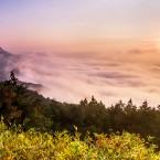 朝日に照らされる雲海